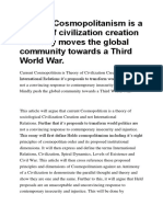 Current Cosmopolitanism is a Theory of Civilization Creation