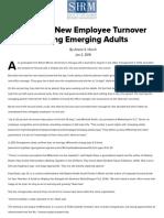 Reducing New Employee Turnover Among Emerging Adults