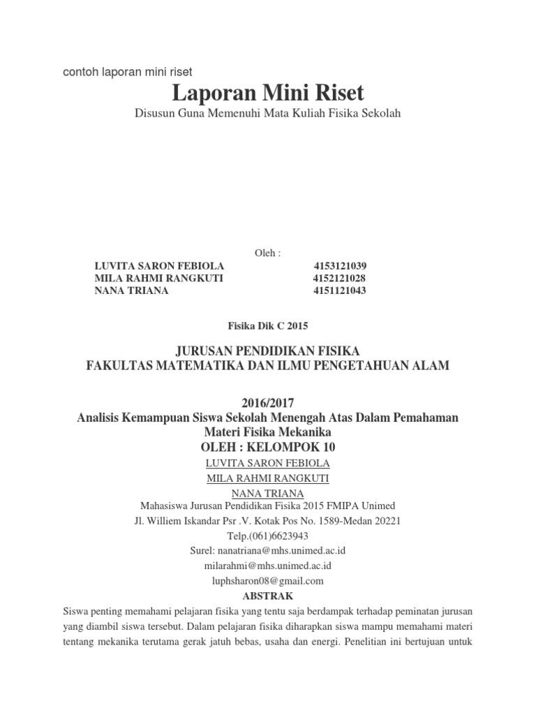 Contoh Laporan Mini Riset Mkdk
