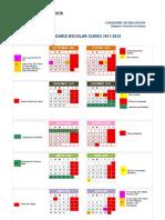 Cuadro Calendario Escolar 2017-2018