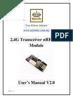 2.4G Transceiver NRF24L01 Module User's Manual v2.0