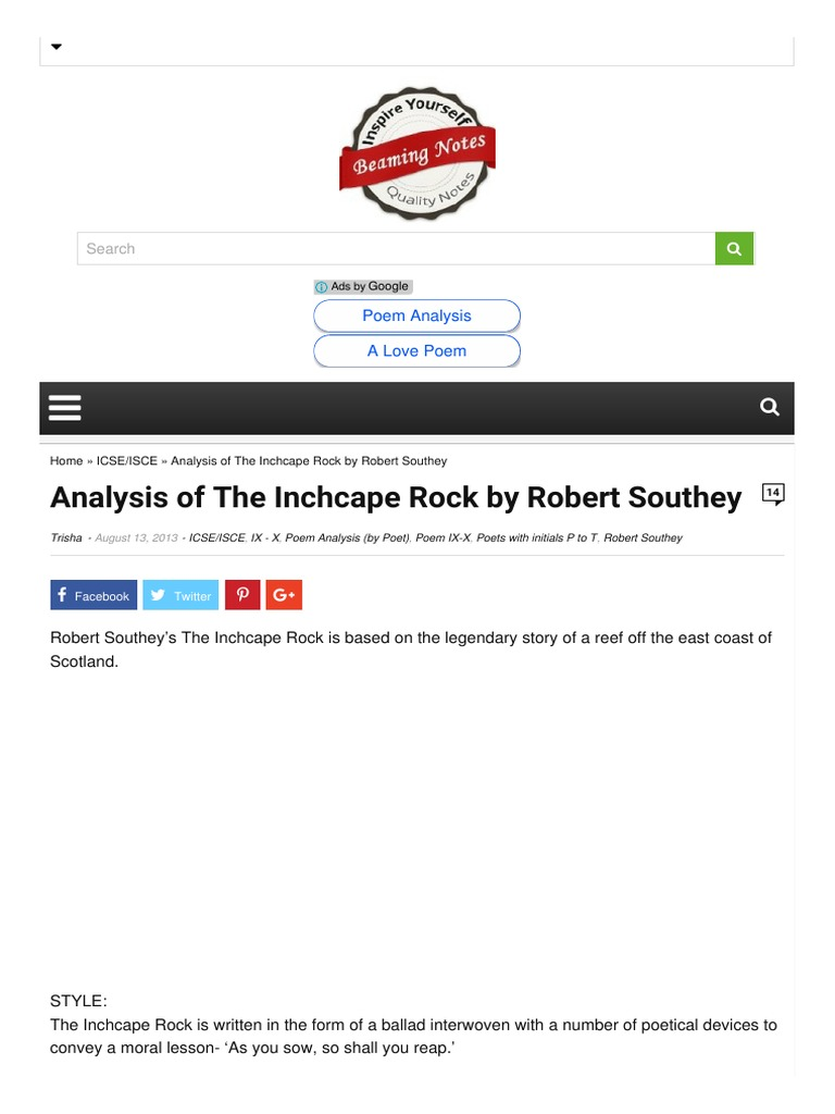 Summary of the scholar by robert southey