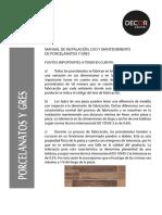 Manual de Instalacion, Uso y Mantenimi Ento de Porcelanatos en Pisos y Paredes Interiores[1] Copy