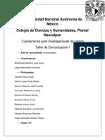 Taller de Comunicación I Cuestionarios Para Practica de Campo.