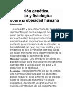 Información Genética, Molecular y Fisiológica Sobre La Obesidad Humana ESP