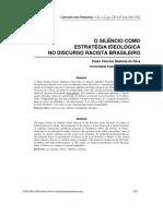 O SILÊNCIO COMO ESTRATÉGIA IDEOLÓGICA NO DISCURSO RACISTA BRASILEIRO
