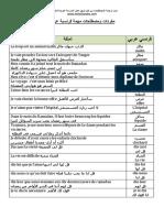مفردات ومصطلحات مهمة فرنسية عربية