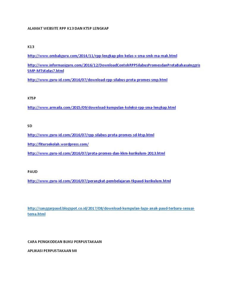 Alamat Website Rpp K13 Dan Ktsp Lengkap