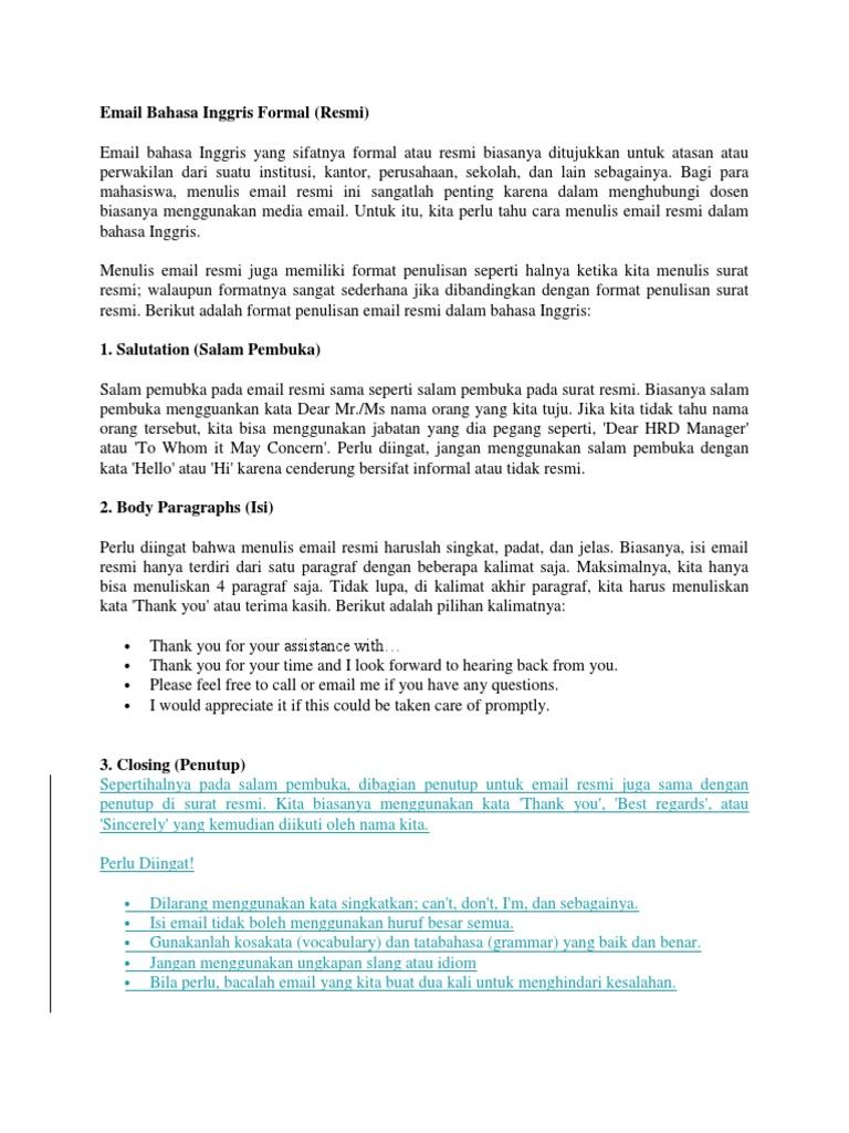 Email Bahasa Inggris Formal