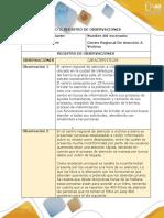 Paso2 Diariodecampo, Registro de observaciones