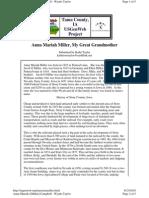 Biography of Anna Mariah Miller by Kathi Taylor