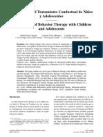 Novedades en El Tratamiento Conductual de Niños y Adolescentes