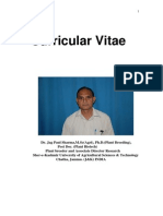 Bio Data/ Curricular Vitae of Dr. JP Sharma