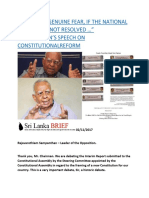 """I HAVE THE GENUINE FEAR, IF THE NATIONAL QUESTION IS NOT RESOLVED …"" SAMPANTHAN'S SPEECH ON CONSTITUTIONALREFORM.docx"