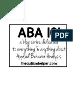 ABA 101 Handouts the Autism Helper