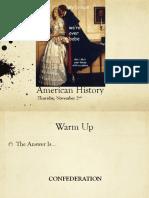 thurs nov 2 american history