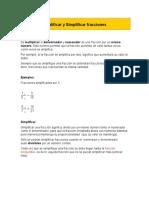 amplificacion  y simplificacion de fracciones