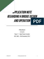 Application Note Regarding H Bridge Design and Operation