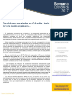 Condiciones Monetarias en Colombia- Hacia Terreno - Expansivo