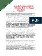 La Defensa Del Marxismo Es La Defensa Del Arma de La Revolución Proletaria