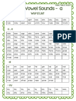 Long Vowel Sounds Word Lists