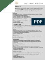 Tabela de Cargos e Salario 2016 - ADEGRAF