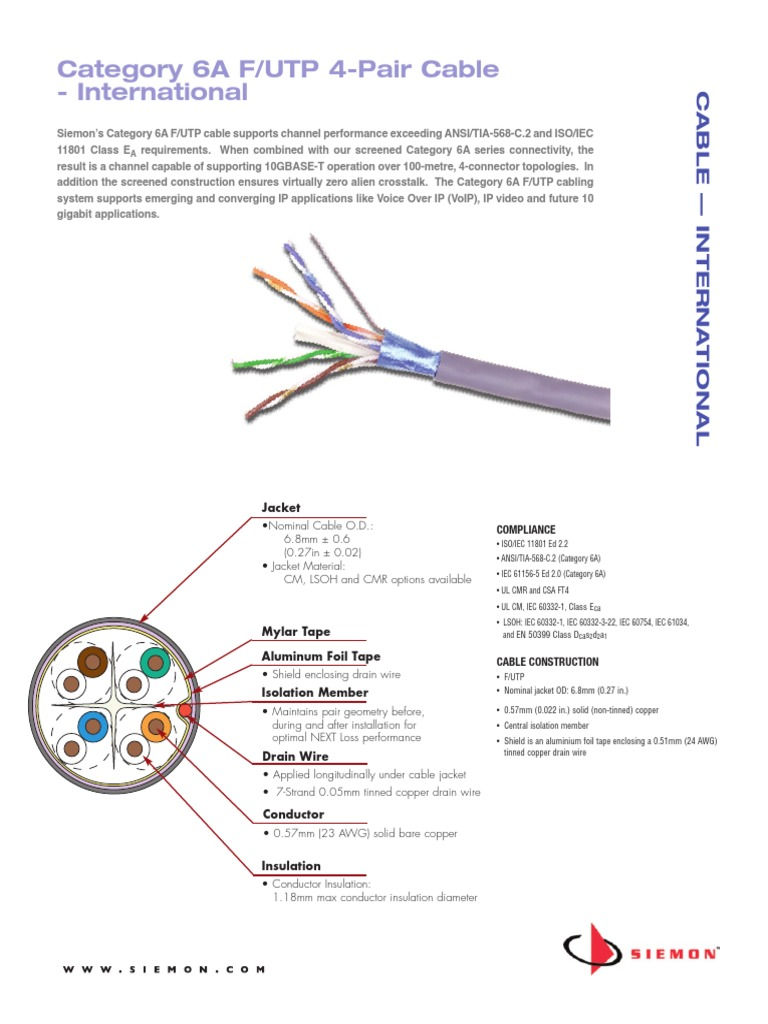Siemon-category6a Futp Cable International Spec-sheet | Electronic  Engineering | Electrical Engineering