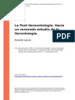 Ricardo Lacub. (2001). La Post-Gereontologia