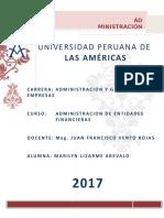 Trabajo de Investigacion - Administracion de Entidades Financieras