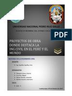PROYECTOS DE OBRA DONDE DESTACA LA ING. CIVIL EN EL PERU Y EN EL MUNDO