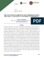 The Use of Digital Library by Art Undergraduates in Sri Lanka- A Case Study at University of Peradeniya