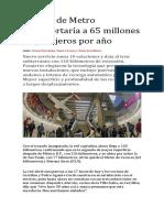 Línea 6 de Metro Transportaría a 65 Millones de Pasajeros Por Año
