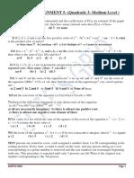 Algebra Assignment 5- Quadratic 3- Medium Level