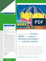 Aplicacion Del Programa MBSR en El Entorno Laboral
