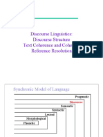 Discourse Structure Text Coherence and Cohesion Reference Resolution