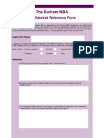 Durham Reference Form