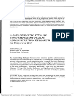 A Paradigmatic View of Contemporary Public Administration Research-An Empirical Test