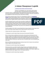 Prinsip Kunci Dalam Manajemen Logistik