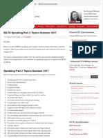 IELTS Speaking Part 2 Topics Summer 2017