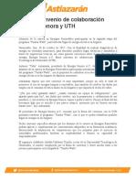 Firman convenio de colaboración Energía Sonora y UTH