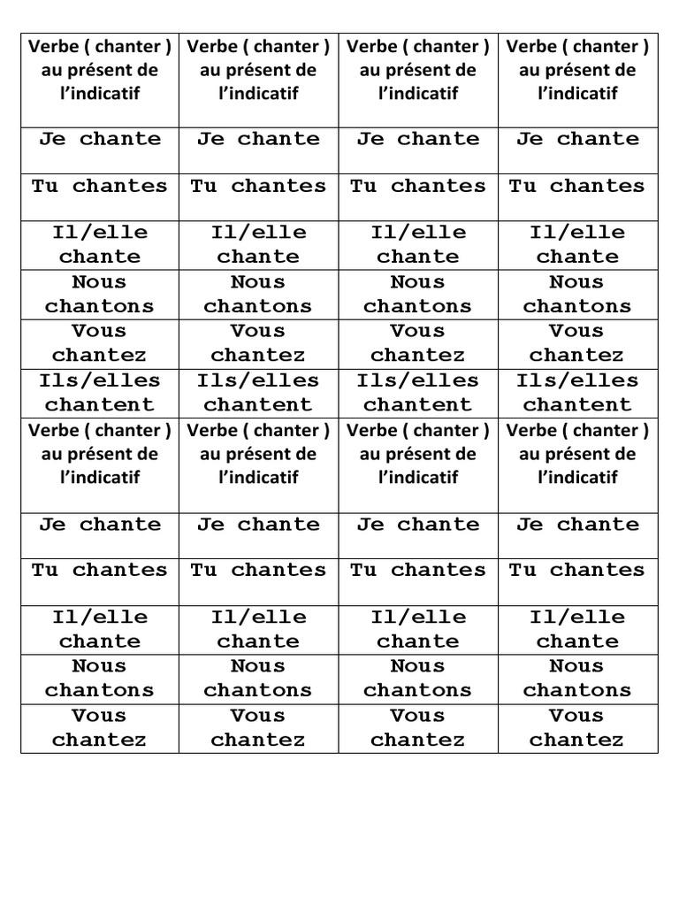 Verbe Chanter Au Present