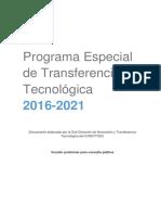 Programa Especial de TT - Documento Para Consulta Pública