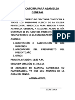 Convocatoria Para Asamblea General