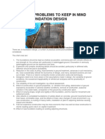Practical Problems to Keep in Mind Before Foundation Design