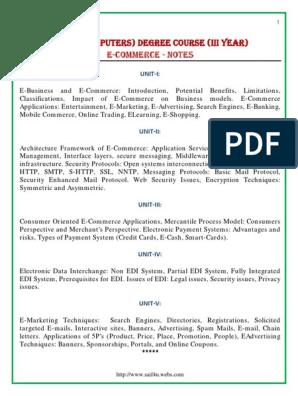 E-ommerce-Notes pdf | Electronic Data Interchange | E Commerce
