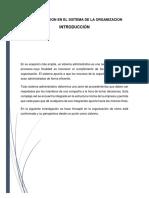 administración en el sistema de organización
