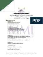Dr. C.B. Peter M. - The Kingdom & National Transformation - OUTLINE