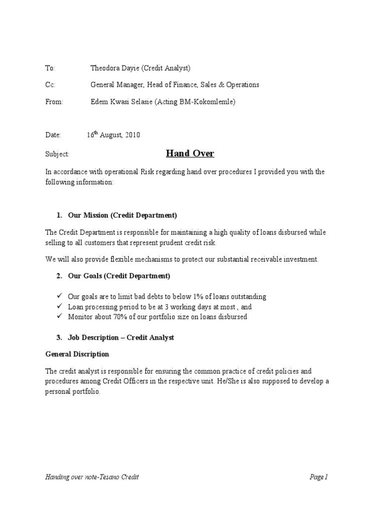 Handover Report Sample Cover Letter - How to Write a Handover Report