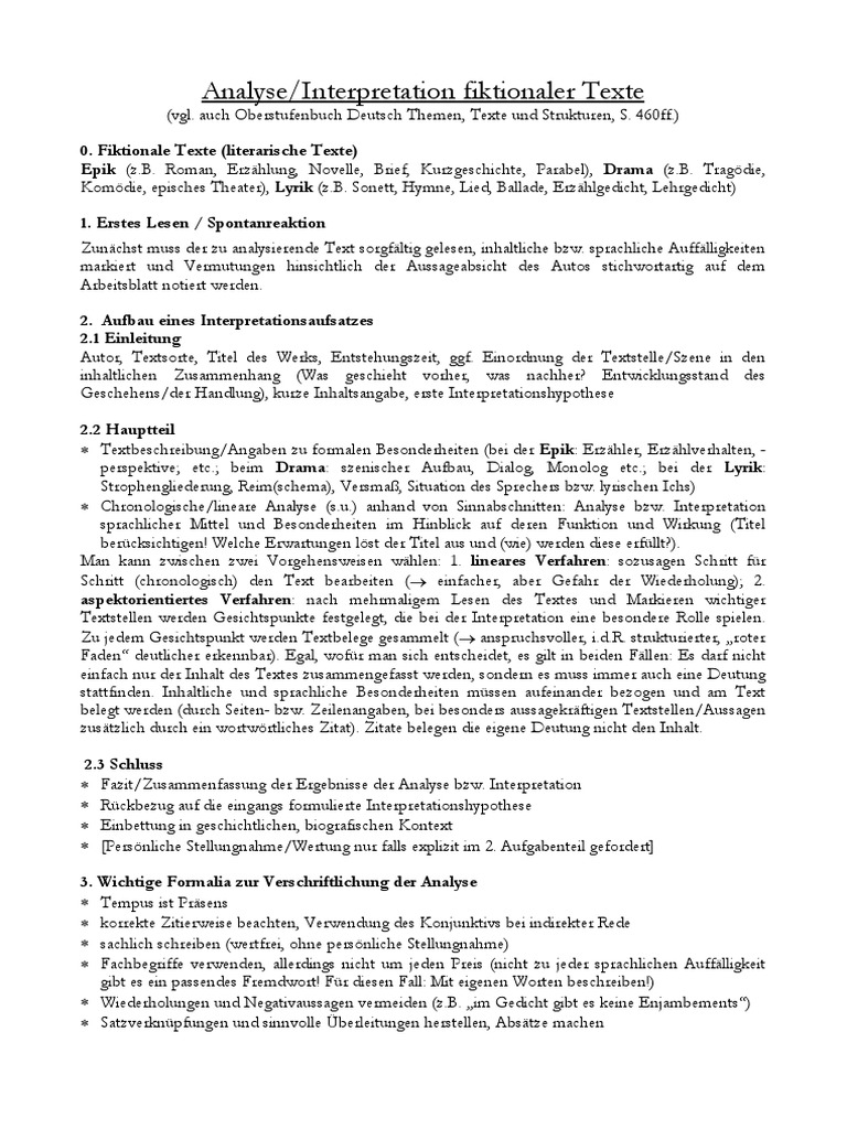 Tipps Für Textanalyse Literarische Texte 3b3 3 A Anf Prali Ws 17 18