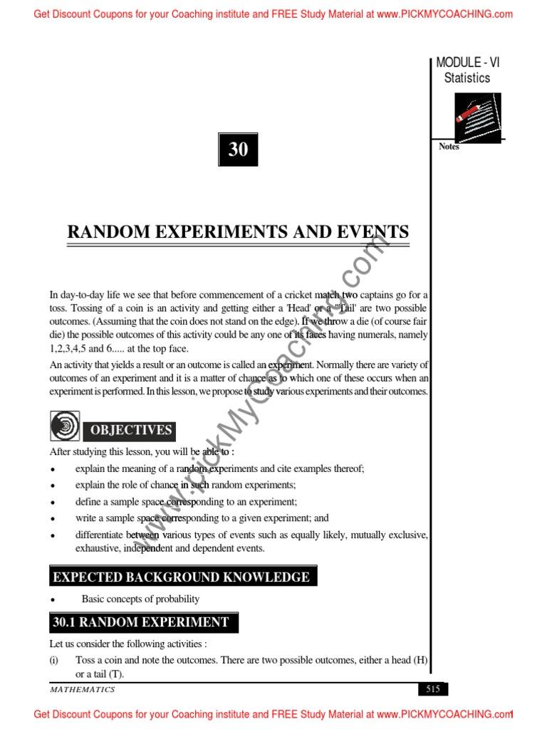 17 Random Experiments Experiment Randomness